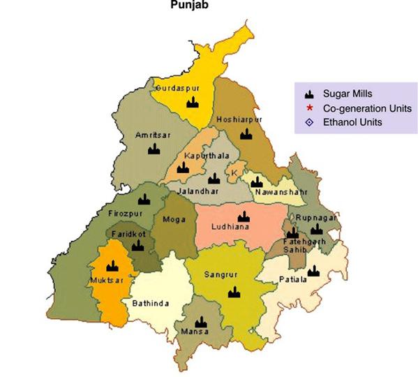 Punjab World Map.Sugar Map Of Punjab